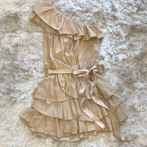 Isabel Marant neutral pink layered ruffle dress